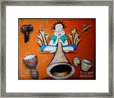 Graffiti Wall Framed Print by Bobby Mandal