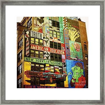 Graffitti On New York City Building Framed Print by Nishanth Gopinathan