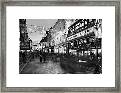 Framed Print featuring the photograph Grafton Street At Night / Dublin by Barry O Carroll
