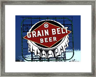 Grain Belt Blue Framed Print by A K Dayton