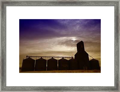 Grain Bins In Reserve Montana Framed Print by Jeff Swan