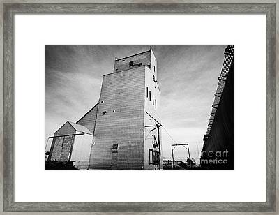 grain elevator and old train track landmark leader Saskatchewan Canada Framed Print