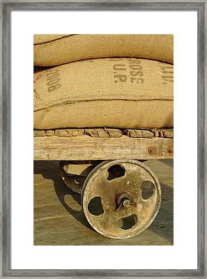 Grains In Burlap Sacks On Primitive Framed Print