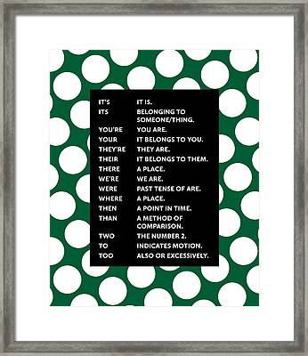 Framed Print featuring the digital art Grammar Rules by Nancy Ingersoll