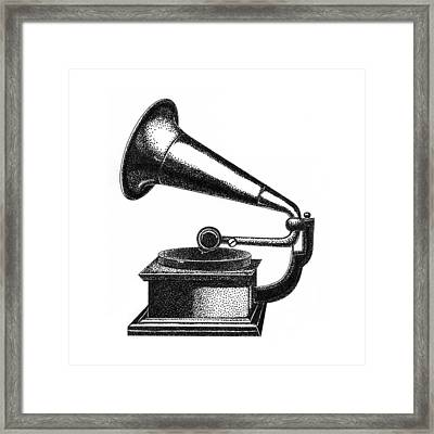 Gramophone Framed Print by Christy Beckwith