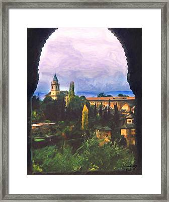 Granada Through The Keyhole Framed Print by Spyder Webb