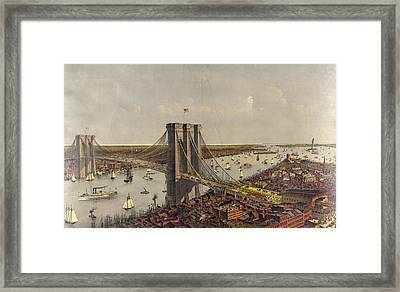 Grand Birds Eye View Of The Great East River Suspension Framed Print by Litz Collection