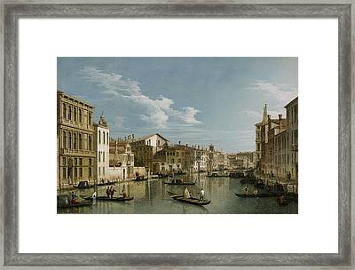 Grand Canal From Palazzo Flangini To Palazzo Bembo Framed Print by Canaletto