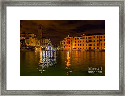 Grand Canal In Venice At Night Framed Print by Paul Cowan