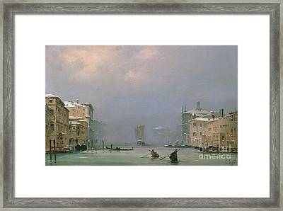 Grand Canal With Snow And Ice Framed Print by Ippolito Caffi