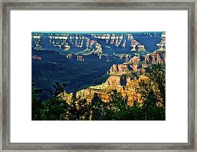 Framed Print featuring the photograph Grand Canyon  Golden Hour On Angel Point by Bob and Nadine Johnston