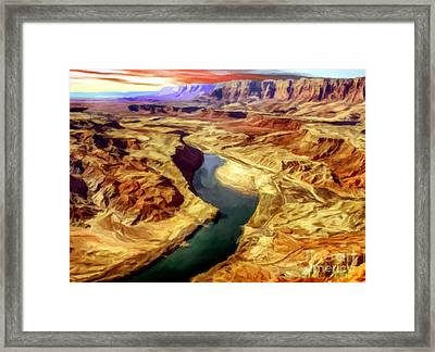 Grand Canyon Lees Ferry Painting Framed Print by Bob and Nadine Johnston