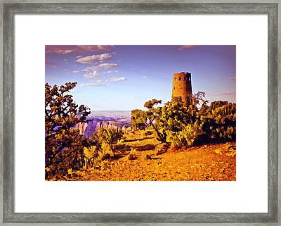 Grand Canyon National Park Golden Hour Watchtower Framed Print by Bob and Nadine Johnston