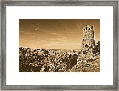 Grand Canyon National Park Mary Colter Designed Desert View Watchtower Rustic Framed Print by Shawn O'Brien
