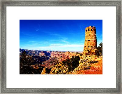 Grand Canyon National Park Mary Colter Designed Desert View Watchtower Vivid Framed Print by Shawn O'Brien