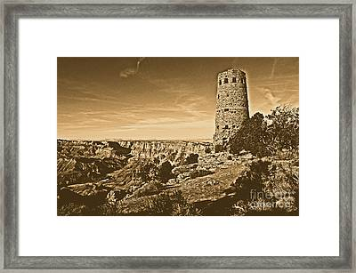 Grand Canyon National Park South Rim Mary Colter Designed Desert View Watchtower Rustic Framed Print by Shawn O'Brien