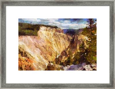 Framed Print featuring the painting Grand Canyon Of Yellowstone 2 by Kai Saarto