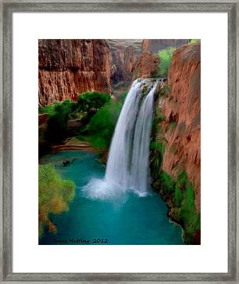 Framed Print featuring the painting Grand Canyon Waterfalls by Bruce Nutting
