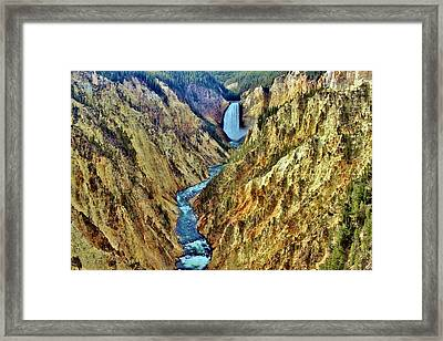 Framed Print featuring the photograph Grand Cayon Of The Yellowstone River by Benjamin Yeager