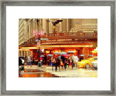 Grand Central Station In The Rain - New York Framed Print by Miriam Danar