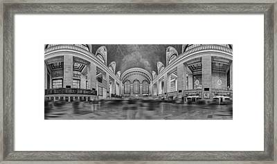 Grand Central Terminal 180 Panorama Bw Framed Print by Susan Candelario