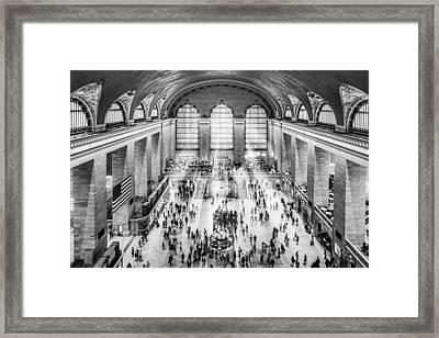 Grand Central Terminal Birds Eye View I Bw Framed Print by Susan Candelario
