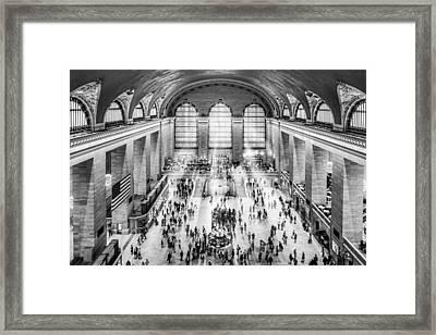 Grand Central Terminal Birds Eye View I Bw Framed Print