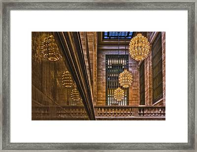 Grand Central Terminal Chandeliers Framed Print by Susan Candelario