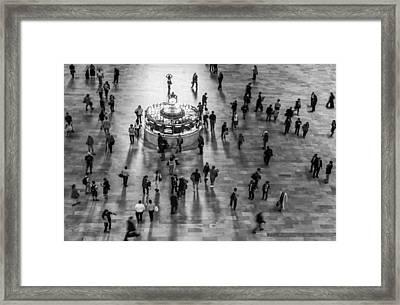 Grand Central Terminal Clock Birds Eye View II Bw Framed Print by Susan Candelario