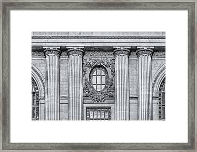 Grand Central Terminal Facade Bw Framed Print by Susan Candelario