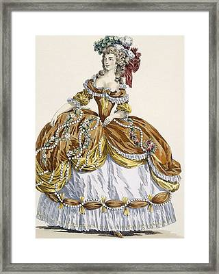 Grand Court Dress In New Style Framed Print by Augustin de Saint-Aubin