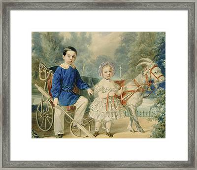 Grand Duke Alexander And Grand Duke Alexey As Children Framed Print by Vladimir Ivanovich Hau