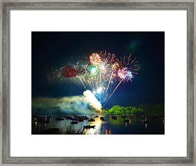 Grand Finale Over The Lake Framed Print by Sandi OReilly