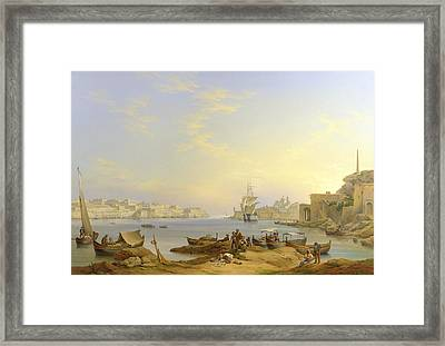 Grand Harbour, Valletta, Malta, 1850 Framed Print by John or Giovanni Schranz