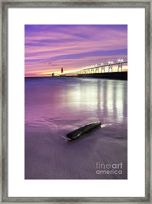 Grand Haven Beach And Pier Framed Print by Twenty Two North Photography
