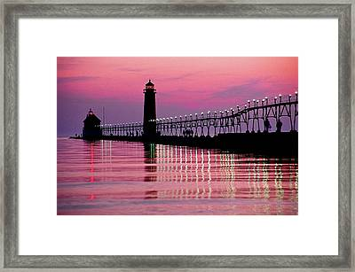 Grand Haven Light Framed Print by Dennis Cox WorldViews