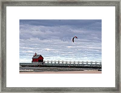 Grand Haven Lighthouse 2 Framed Print by Cheryl Cencich