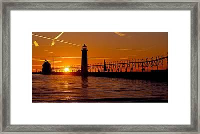 Grand Haven Lighthouse At Sunset, Grand Framed Print