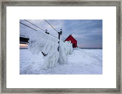 Grand Haven Lighthouse In Winter Framed Print