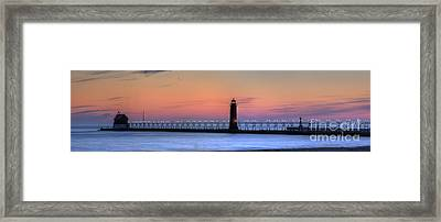 Grand Haven Lighthouses And Pier Framed Print by Twenty Two North Photography
