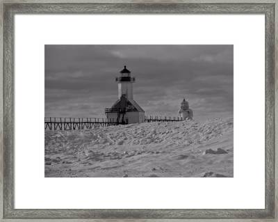 Saint Joseph Michigan Lighthouse In Winter Framed Print