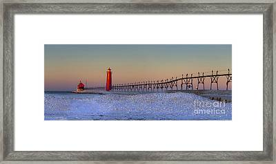 Grand Haven Pier At Sunrise Framed Print by Twenty Two North Photography