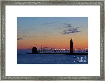 Grand Haven Pier At Sunset Framed Print by Twenty Two North Photography