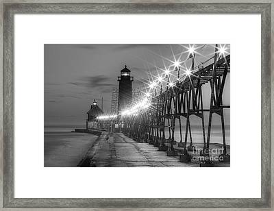 Grand Haven Pier In Black And White Framed Print by Twenty Two North Photography