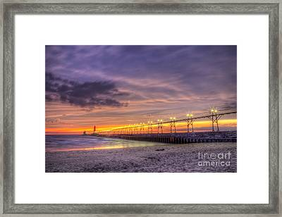 Grand Haven Sunset Framed Print by Twenty Two North Photography
