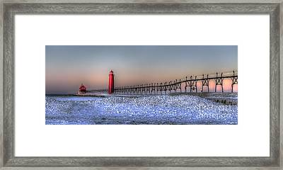 Grand Haven Winter Panorama Framed Print by Twenty Two North Photography
