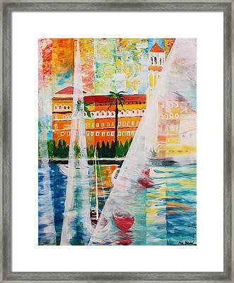 Grand Hotel  In Gardone Riviera In Sunlight Framed Print by M Bleichner