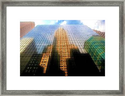 Grand Hyatt Hotel With Reflection Of The Chrysler Building  Framed Print by Lanjee Chee