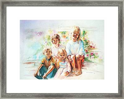 Framed Print featuring the painting Grand Kids by Patricia Schneider Mitchell