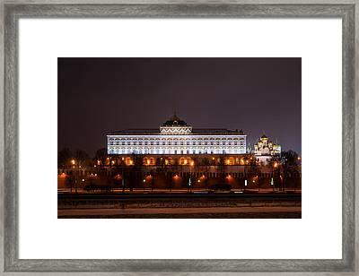 Grand Kremlin Palace At Night Framed Print by Alexander Senin